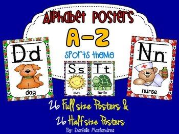 Alphabet Poster Set: A-Z (Full & Half Size Posters) {Sports Theme}
