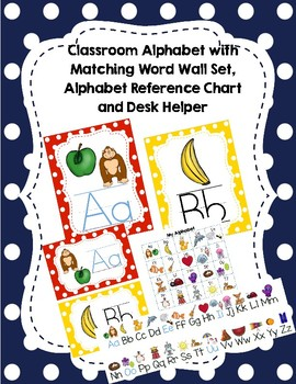 Alphabet Poster Set, Matching Word Wall and Personal Alphabet Reference Sheet