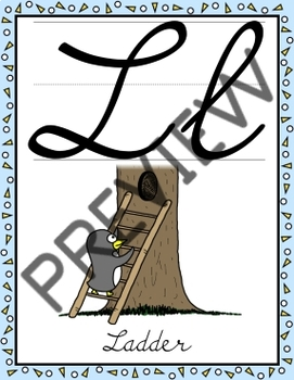 Cursive Alphabet Posters - Penguin Decor Theme (Full Page Size)