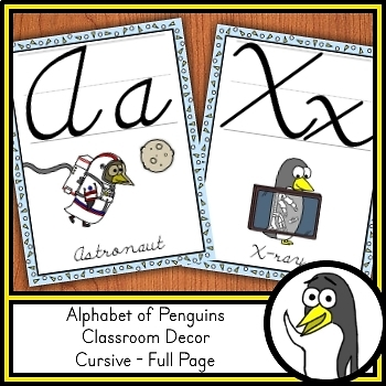 Cursive Handwriting Posters - Penguin Theme (Full Page Size)