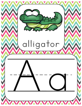 Alphabet Poster Set with Digraph Posters and Word Wall Letters