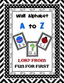 Alphabet Poster Wall Set Black Chevron and Polka Border