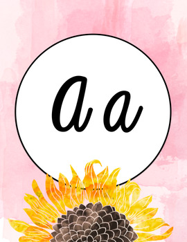 Alphabet Poster- Watercolor Sunflower- Cursive