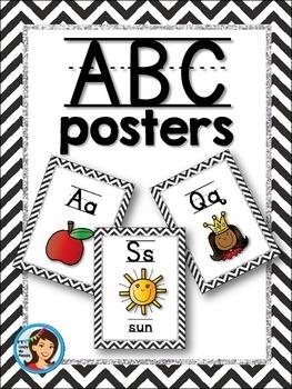 Chevron and Glitter Alphabet Posters