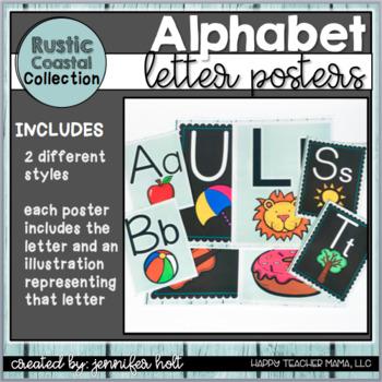 Alphabet Posters-2 Styles {Rustic Coastal}