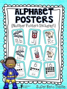 Alphabet Posters for the Classroom Super Hero Theme