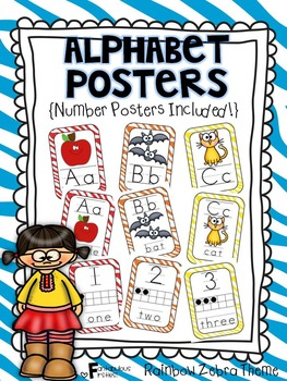 Alphabet Posters for the Classroom Colored Zebra Print Theme