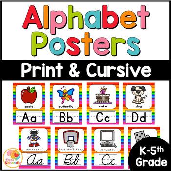 Alphabet Posters - Bright Rainbow Theme