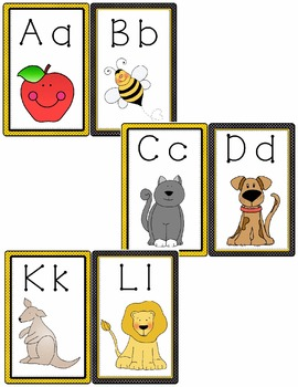 Alphabet Posters (26) - 5 x 7 - With colored vowels