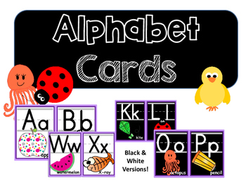 Alphabet Posters/Alphabet Cards (black & white versions included!)