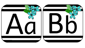 Stripes and Flowers Alphabet Posters