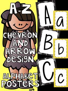 Alphabet Posters A-Z  Yellow Chevron & Black Arrow Design , classroom decor