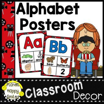 Alphabet Posters A-to-Z ~ Hollywood Theme, Movie Theme