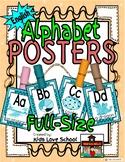 Alphabet Posters-AQUA/Turquoise- ENGLISH Version with Pict