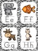 Alphabet Posters And Cards  With Black Zebra Trim