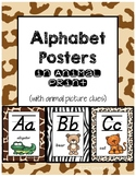 Classroom Decor Alphabet Posters - Animal Print - Animals - Italics