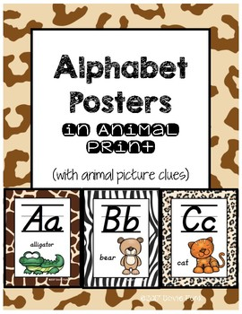 Alphabet Posters - Animal Print Background - Animal Pictur
