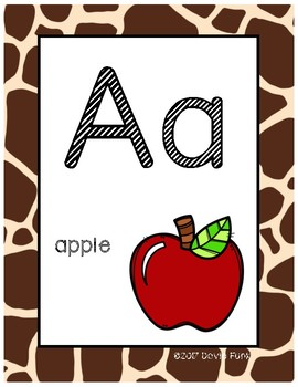 Classroom Decor Alphabet Posters - Animal Print - With Picture Clues