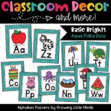 Alphabet Posters- Aqua Polka Dots