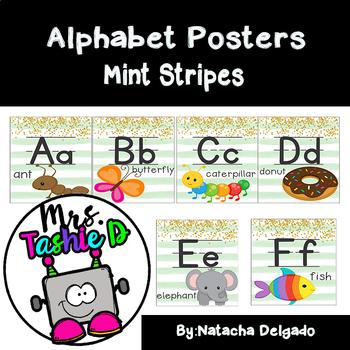 Alphabet Posters (Aqua Stripes)