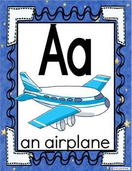 Alphabet Posters-BLUE- ENGLISH Version with Picture and Words