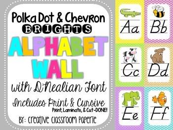 Alphabet Posters-BRIGHTS Polka Dot & Chevron