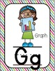Alphabet Posters-Based on Math Vocabulary-Multi-Colored Striped
