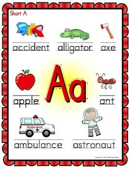 Alphabet Posters - Beginning Sounds  (Colorful Shapes Frame)