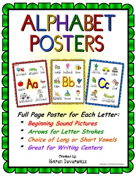 Alphabet Posters - Beginning Sounds  (Colorful Shapes Frame)