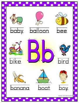 Alphabet Posters - Beginning Sounds  (Polka Dot Frame)