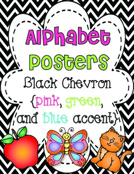 Alphabet Posters {Black Chevron w/pink, green, and blue}