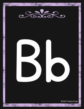 Classroom Decor Alphabet Posters - Black Chalkboard - Italics