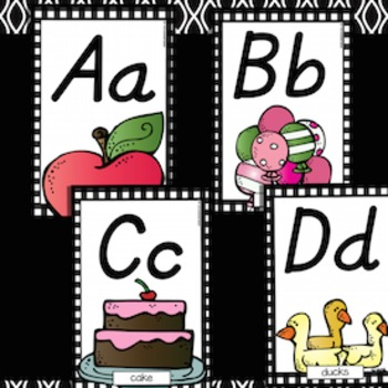 Alphabet Posters Black Plaid D'Nealian style