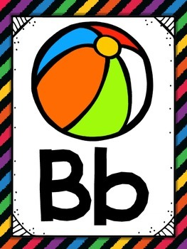 Alphabet Posters {Black Rainbow} {Many Picture Options} {Full Page Posters}