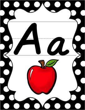 Alphabet Posters - Black & White Polka Dot - D'Nealian Manuscript