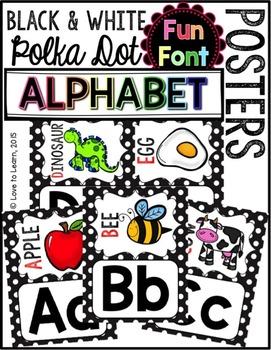 Alphabet Posters - Black & White Polka Dot {Fun Font}