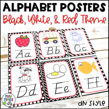 Alphabet Posters | Black, White, & Red Decor | D'Nealian Style