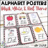 Alphabet Posters   Black, White, & Red Decor   D'Nealian Style