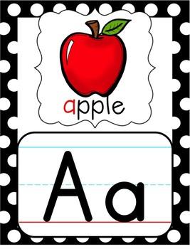 Alphabet Posters - Black, White & Red Polka Dot