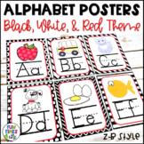 Alphabet Posters   Black, White, & Red Decor   Zaner-Bloser Style