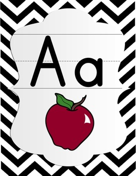 Alphabet Posters - Black & White Chevron with Color Pictures