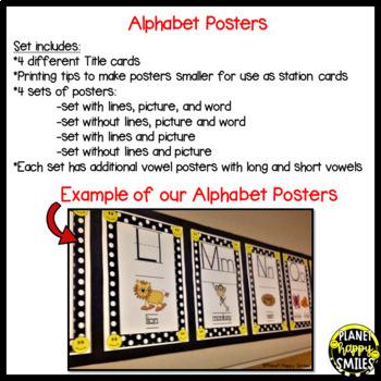 Alphabet Posters, Black and White Polka Dot