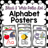 Alphabet Posters - Black and White Polka Dots