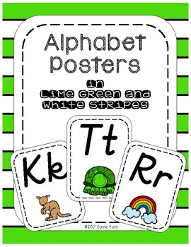 Classroom Decor Alphabet Posters - Lime Green & White Stripe  Italics