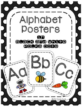 #roomdecor Classroom Decor Alphabet Posters - Black & White Polka Dots