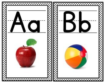 Alphabet Posters/ Black and White Polka Dots/Back to School