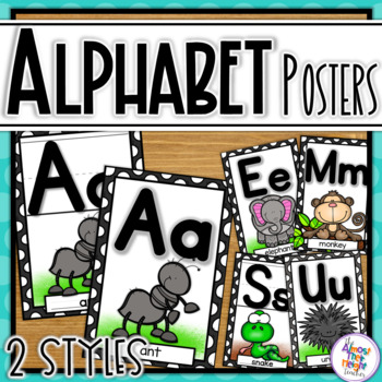 Alphabet Posters - Animal Black and White frame
