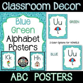 Alphabet Posters - Blue and Green and Stars Theme - Classroom Decor
