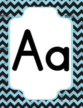#roomdecor Classroom Decor Alphabet Posters - Blue  Chalkboard Chevron - Italics