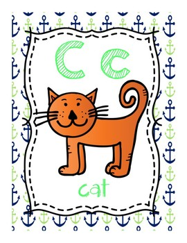 Alphabet Posters (Blue and Green Nautical Themed)